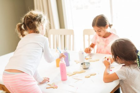 social skills training | three girls on playdate at table doing art project